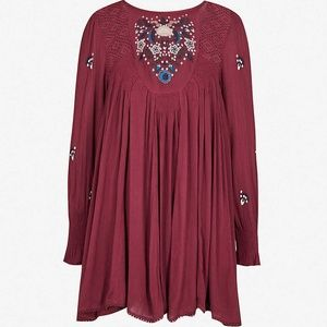 NWT FREE PEOPLE Plum Mojave Embroidered Mini Dress